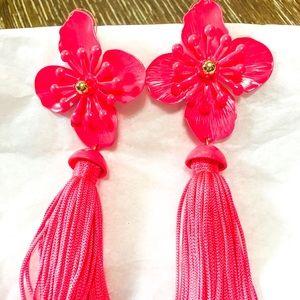 Hawaiian flower tassel earrings